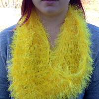 Hand Crochet Banana Yellow Infinity Scarf with 3 in 1 Ways to Wear