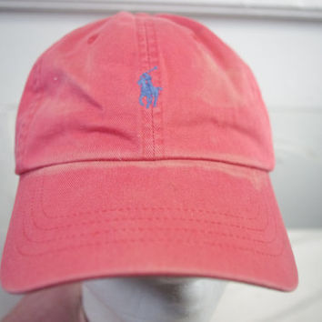 Vintage 90s Polo Ralph Lauren leather strap PINK hat cap