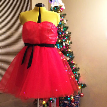 Faerietale Dress in Red or Black. Christmas Holiday Bridesmaid Prom Dress with optional Santa Claus Fur Trim Detail