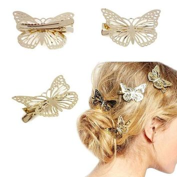LMFG8W Top sale! women lady Golden Butterfly Hair Accessories Hair Clip Headpiece Hair Head Side Decor Wedding Jewelry Free Shipping #y