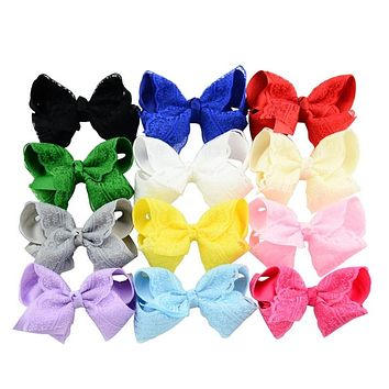 Boutique Hair Clip Grosgrain Ribbon Lace Bow Hairpin Baby Girl Accessories Color