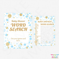 Blue and Gold Baby Shower Word Search Game + Sign - Boy Baby Shower Games, Word Search, Printable Baby Shower Games, Download, CB0003-bg