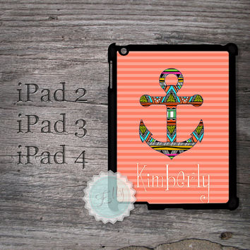 Nautical iPad case - Aztec pattern anchor on coral stripes with monogram name , cover for iPad , ipad snap on case