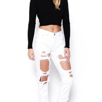 BOYFRIEND RIPPED JEANS WHITE