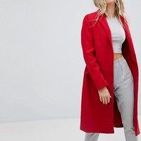 Bershka Long Line Car Coat at asos.com