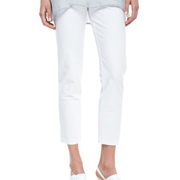 Women's Washable Stretch-Crepe Ankle Pants, White, Petite - Eileen Fisher - White
