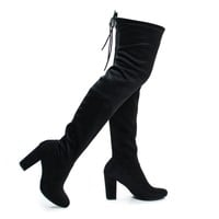 Snivy Black F-Suede by Delicious, Black Suede OTK Over The Knee Thigh High Slouchy Boots w/ Back Lace Tie & Block Heel