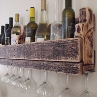 Reclaimed pallet wood wine rack with stem by TheReclaimedLife