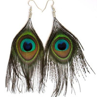 Exotic Peacock Feather Drop Earrings Boho Chic