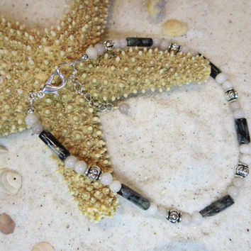 Black Serpentine Lilac Stone Beachy Ankle Bracelet Anklet Summertime Jewelry Sun tan Bohemian Chic
