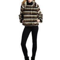 Calvin Klein Women`s Chincilla Faux Fur Coat