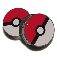 "Custom Pokeball Plugs - 1 Pair - Sizes 2g, 0g, 00g, 7/16"", 1/2"", 9/16"", 5/8"", 3/4"", 7/8"", 1"""