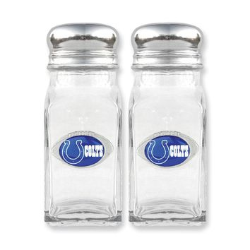 NFL Colts Glass Salt and Pepper Shakers - Etching Personalized Gift Item