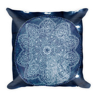 Indigo Mandala Throw Pillow 18 X 18 Filled Boho Home Decor Hippy