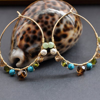 Southwest Hoop Earrings, Gold Multicolor Hoops, Bohemian Jewelry