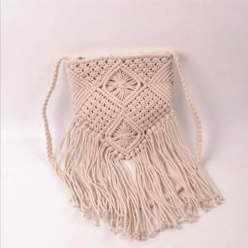 Ethnic hand-woven cotton cord cotton rope tassel handbag Messenger