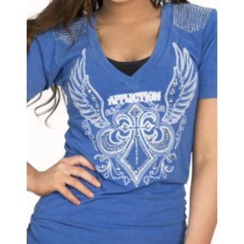 Affliction Women's Blue Helene Embroidered Winged Fleur De Lis Short Sleeve V-Neck Tee