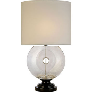 Trend TT6061 Coda Clear and Ebony Lacquer One-Light Table Lamp with Wheat Woven Linen Shade