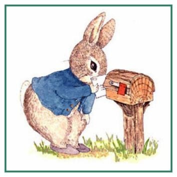Peter Rabbit Checks Mailbox inspired by Beatrix Potter Counted Cross Stitch Pattern