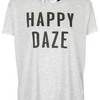 Happy Daze Tee By Tee and Cake - Grey Marl