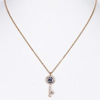 NECKLACE / CRYSTAL STONE / KEY PENDANT / METAL SETTING / LINK / CHAIN / 16 INCH LONG / 1 INCH DROP / NICKEL AND LEAD COMPLIANT