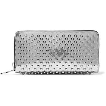 Christian Louboutin - Panettone spiked metallic patent-leather continental wallet