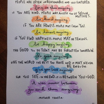 8x10 print of mother teresa do it anyway poem Copy
