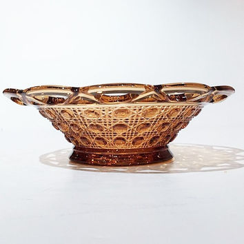 Imperial Glass Amber Cane Pattern Bowl, Lace Edge Cane Design Bowl, Vintage Imperial Open Lace Edge Amber Glass Bowl in the Buttons Pattern