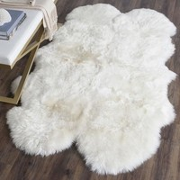 Hayden Wool Sheepskin White Fur Shaped Area Rug