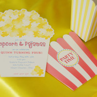 Popcorn & Pajama Party Invitation