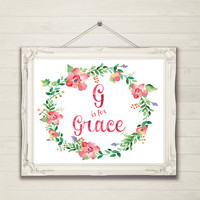 90% off - G is for Grace 8x10 Custom Name INSTANT DOWNLOAD, Watercolor ~ Girl Pink Floral Wreath  Horizontal Initial Letter Wall Art