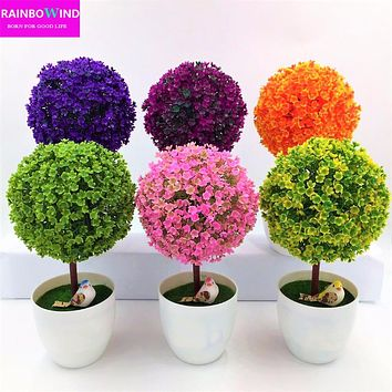 Bonsai Simulation Decorative Artificial Flowers Fake Green Pot Plants
