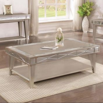 Solid Wooden Coffee Table With X Etched Mirror Accents And Shelf, Silver Gray - 720888