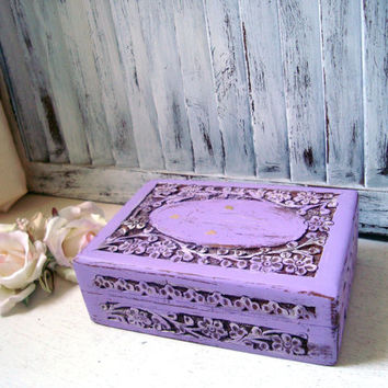 Purple Ornate Jewelry Box, Carved Wooden Jewelry Holder,  Lavender Trinket Box, Gift Ideas, Shabby Chic Jewelry Box