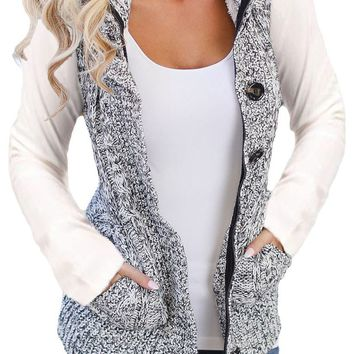 Fashion Women Heather Grey Cable Knit Hooded Sweater Vest