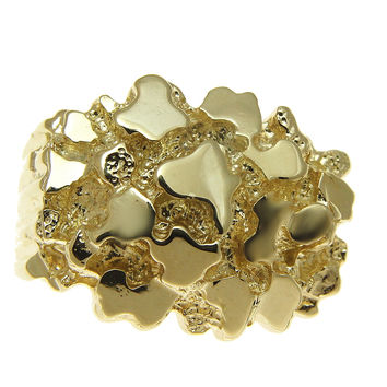 HEAVY 14K YELLOW GOLD NUGGET RING 17MM