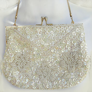 Vintage Du Val Purse, Floral White Sequin & Glass Seed Bead Evening Bag/Clutch Bridal Purse, Hong Kong