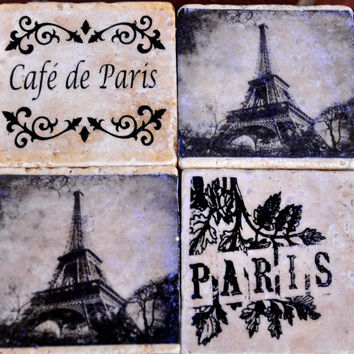French Chic Paris Coasters (Set of 4)  ~~ Perfect Gift for Valentine's, Weddings, Anniversary, Housewarming, or Birthdays!!