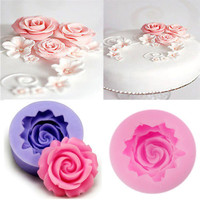 Cake Chocolate Sugarcraft Mold Cutter Silicone Rose Flower 3D Fondant  DIY Tools