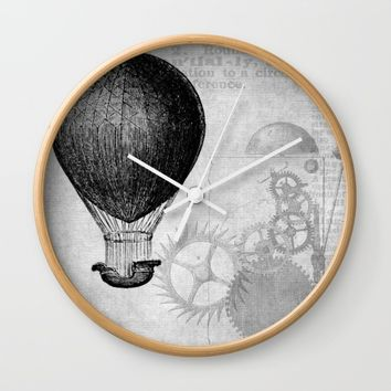 hot air balloon 4 Wall Clock by Sébastien BOUVIER