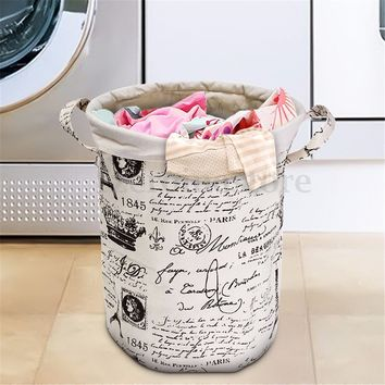 Foldable Cotton Linen Laundry Washing Clothes Basket Bag Hamper Storage Bag
