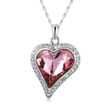 "Swarovski Element Forever Love to Your Heart Jewelry Pendant Necklace with Swarovski Crystal, 18"", Rose Red"