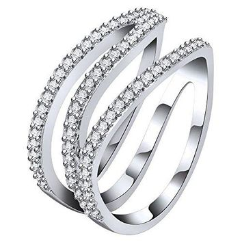 AoedeJ Women Band Ring 925 Sterling Silver Z Shaped Finger Rings Pave CZ Wedding Band Rings Size 79 Bar Rings