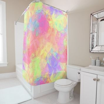 Pink Lime Green Purple Blue Polygon Pattern Shower Curtain