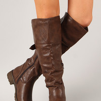 Sarah-01 Leatherette Round Toe Knee High Boot