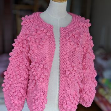 New Trendy Pom Pom Cardigan Sweater