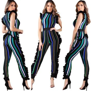 Ruffled Colorful Striped Jumpsuit