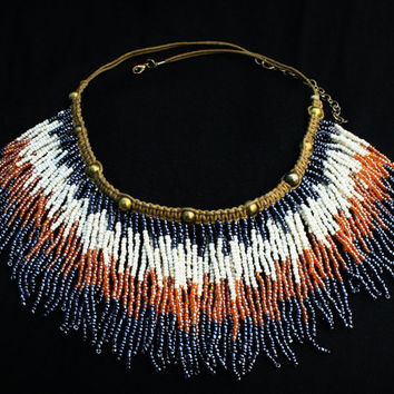 Ethnic/Tribal bead macrame necklace, handmade jewelry, Indian vintage style choker, beaded neck piece.