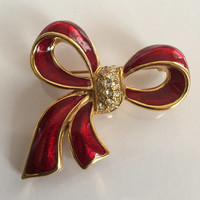 Monet Bow Brooch, Red Enamel with Rhinestones, Designer Vintage Jewelry