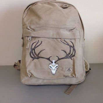Laptop Backpack Hand Painted with Deer Skull and Horns